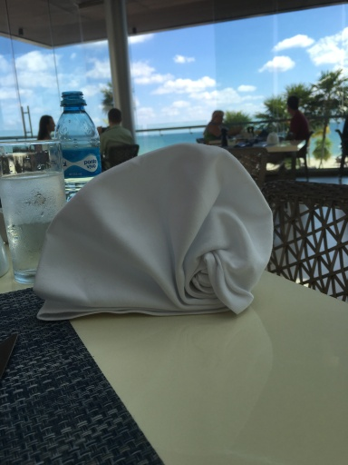 The waiter made a conch shell.