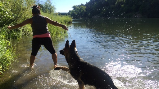 Shireen took us for Klaus' first splashies ever in the American River!